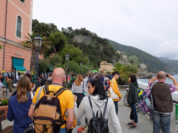 Crowds near Monterosso train station on a Saturday mid-May, 2017