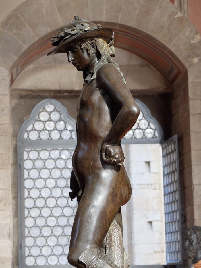 Donatello's bronze david, side view