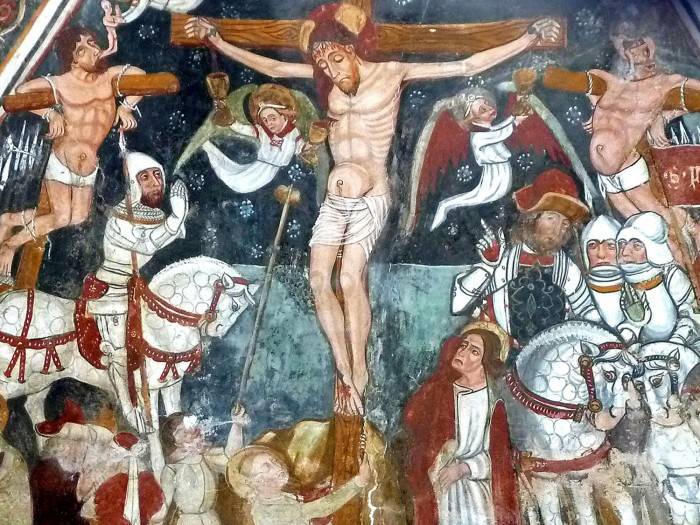ANONYMOUS: The Crucifixion, dated 5th June, 1488. Fresco in the Chapel of San Bernardo, Castelleto Stura. Photo: Author.