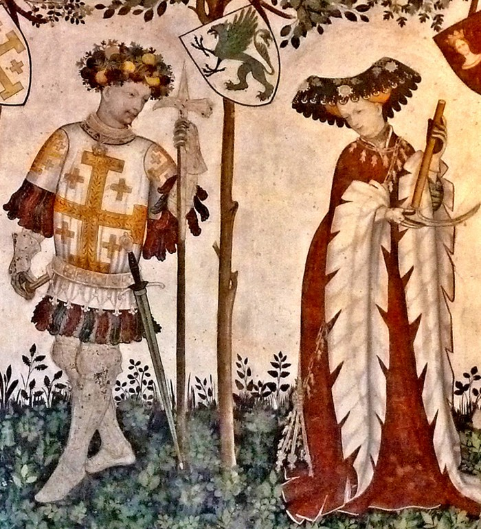 Two of the Nine Worthies and Nine Heroines, Godfrey of Bouillon and Delfile. Fresco, circa 1416-17. Photo: Author.