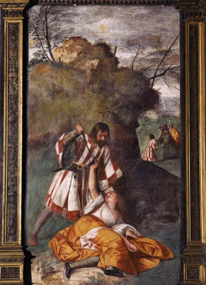 Fresco by Titian in the Scoletta (The Miracle of the Jealous Husband) | Photo Wikipedia