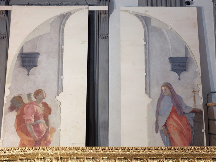 Detached frescoes (and frame) in restoration area inside the church, July 2017