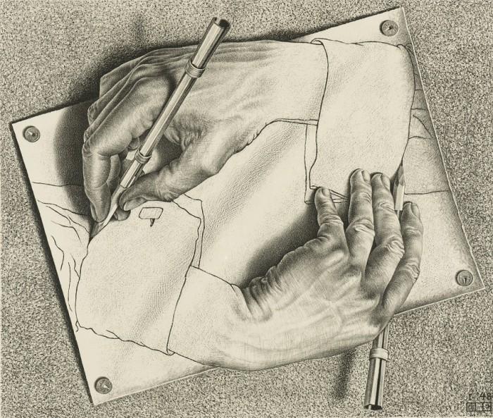 M.C. Escher Mani che disegnano 1948, Collezione Gemeentemuseum Den Haag © the M.C. Escher Company B.V.-Baarn - the Netherlands