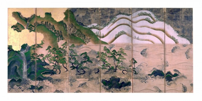 Paesaggio con sole e luna, Muromachi period, Osaka, Amanosan Kongōji