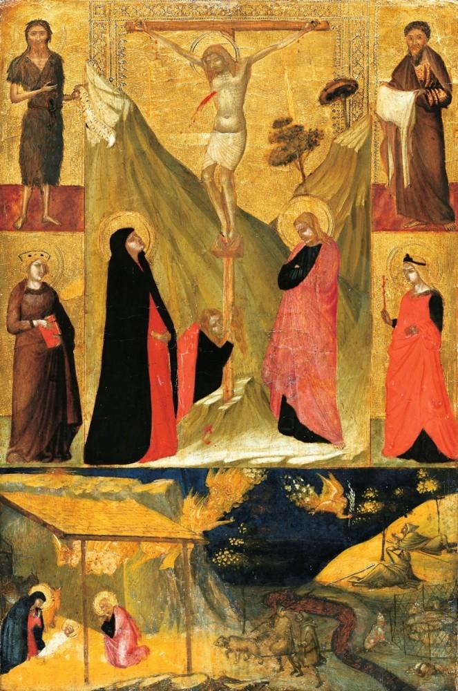 Ambrogio Lorenzetti, Crocifissione, quattro Santi, Natività e Annuncio ai pastori, Frankfurt, Städel Museum