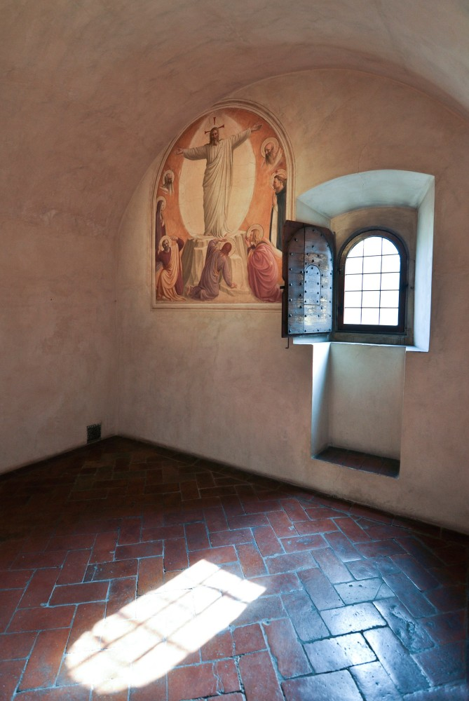 A single cell in San Marco, with a painting of the Transfiguration by Fra Angelico
