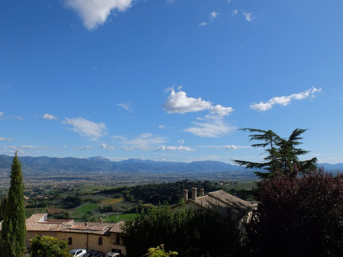 The view from Montefalco, from the balcony of the Locanda del Teatro
