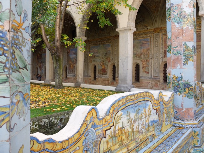 Detail of the maiolica courtyard at Santa Chiara