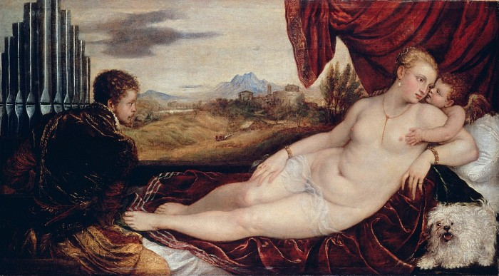 Titian, Venus and Cupid with Organist and dog, Berlin