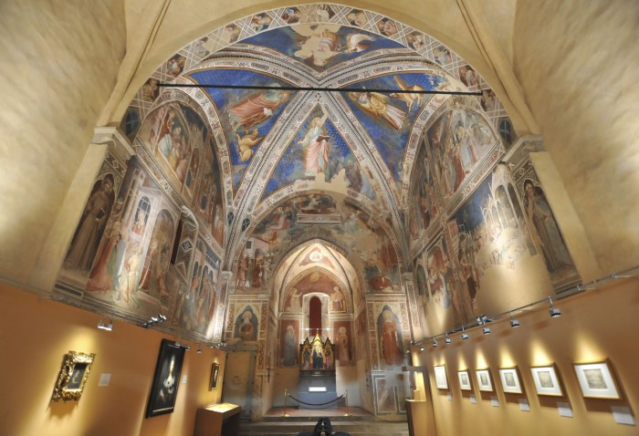 Oratory interior with exhibit on lower walls