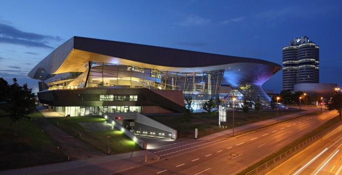 BMW Welt - Exterior view (south side): Night shot showing concept of crossroads