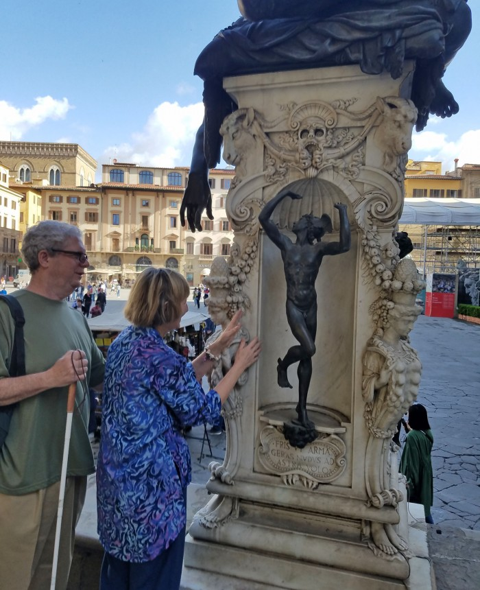 Touching sculpture in the loggia dei Lanzi (with permission)