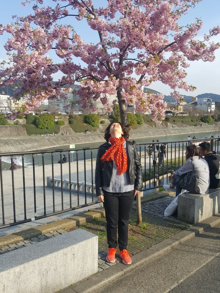 The author enjoying cherry blossoms