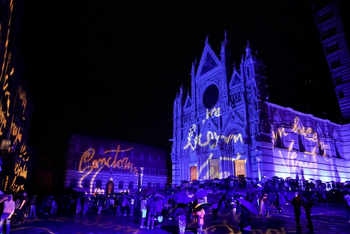 Here is a photo from the exterior light show on June 27 - unfortunately it rained!