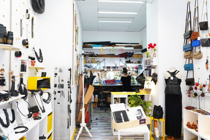 The inside of Ciatu, a lab/store in Palermo (piazza Aragona) that sells accessories from recycled tires as well as leather and more.