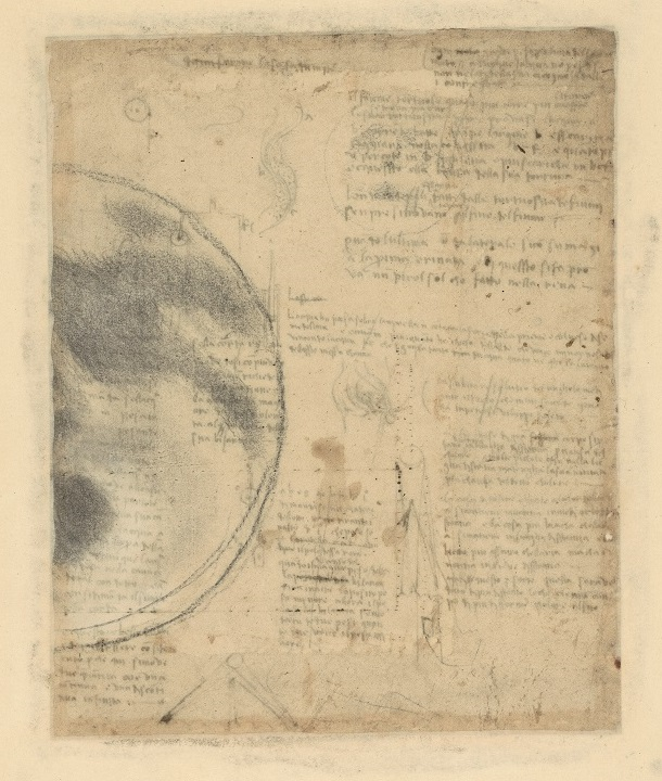 Leonardo da Vinci The Moon  1513-1514 circa black pencil, white chalk, on profusely stained white paper Codex Atlanticus, f. 674v Veneranda Biblioteca e Pinacoteca Ambrosiana, Milano