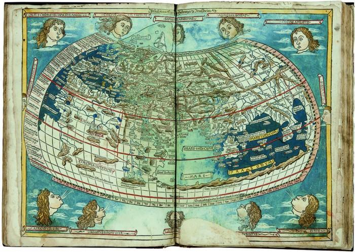 Ptolemy, Cosmographia: known world, 1482, Biblioteca Medicea Laurenziana, Firenze