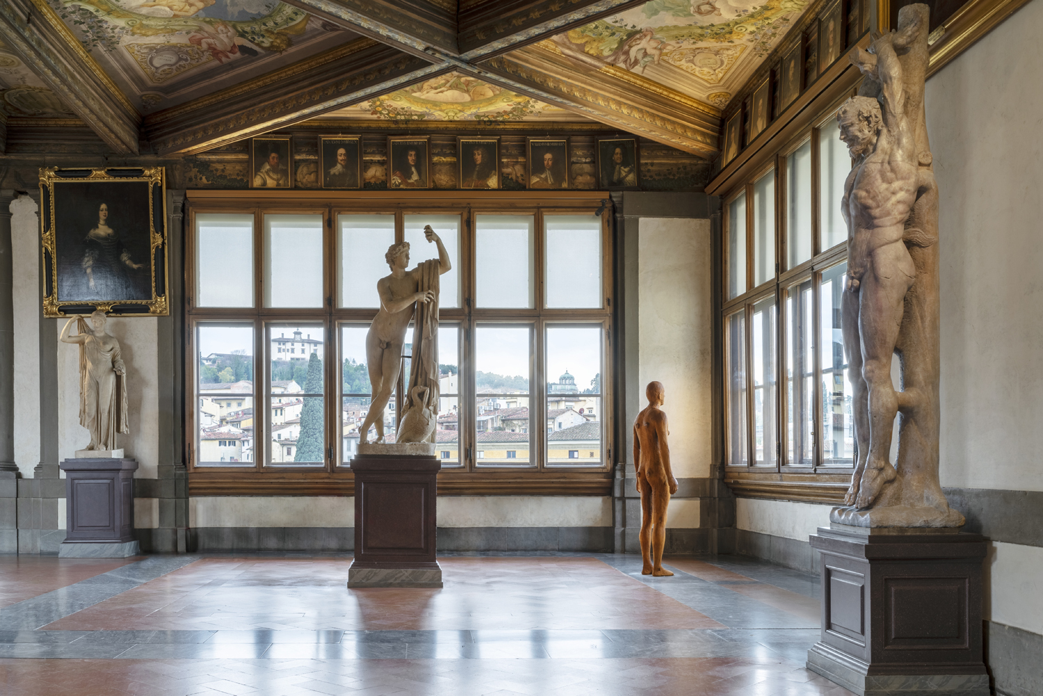 Gormely's works are displayed around the Uffizi in surprising locations!