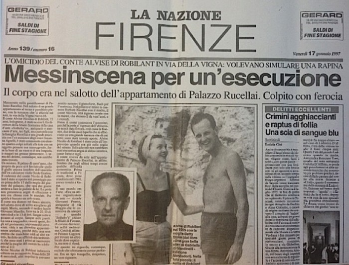 La Nazione front page on the murder