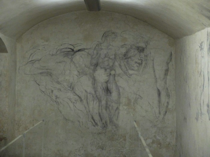 Art historians, including William Wallace, believe these are autograph drawings by Michelangelo, done to pass the time while hiding in the stanza segreta at San Lorenzo.