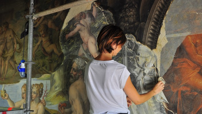 Restoration of the east wall showing the extent of cleaning and infilling that was required   ph. official website http://www.saladeglielementi.it