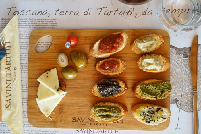 A variety of tartufo condiments