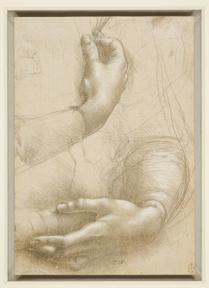 Lonardo da Vinci, Hands, c. 1474–86, silverpoint and metalpoint. Windsor Castle, Royal Library, The Royal Collection Trust, inv. RCIN 912558 (lent by Her Majesty Queen Elizabeth II). Royal Collection Trust / © Her Majesty Queen Elizabeth II 2019