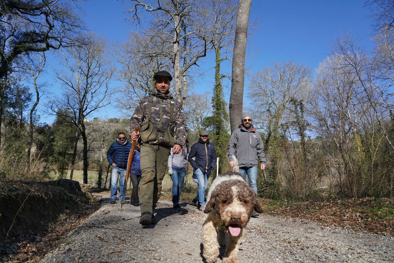 Giotto Jr. leads the way as we head out on a truffle hunt in Tuscany with Savini Tartufi