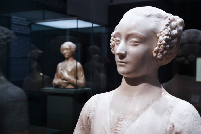 Two female portrait busts by Verrocchio
