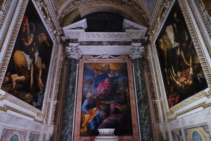 Caravaggio's 2 paintings in the Cerasi Chapel at SM del Popolo