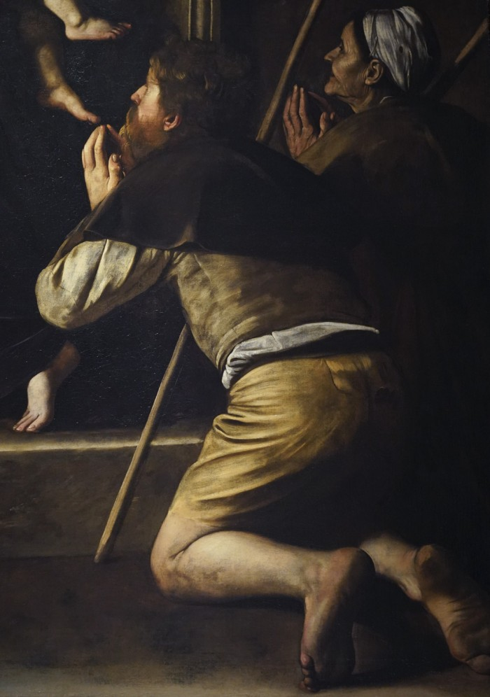 Detail of the pilgrim's feet, Caravaggio, Madonna dei Pellegrini