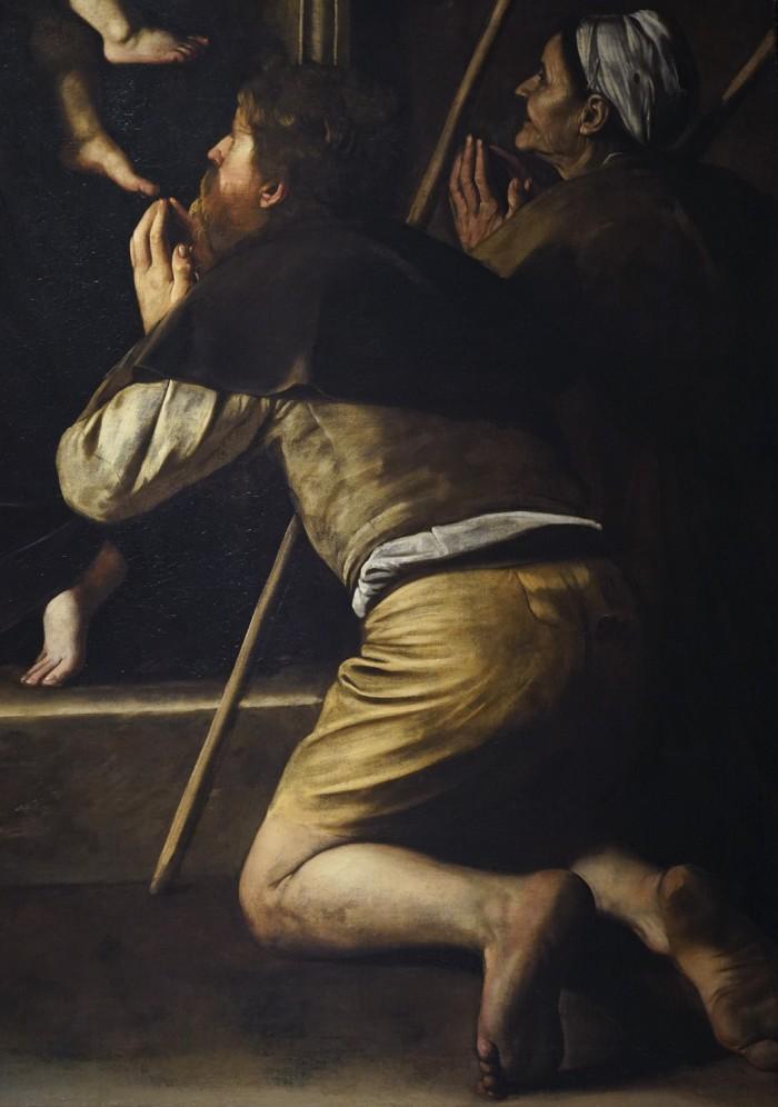 Detail of the pilgrim's feet, Caravaggio, Madonna dei Pellegrini