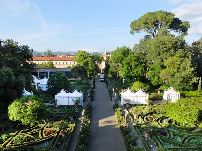 The garden while being set up for Artigianato e Palazzo, seen from the family's terrace