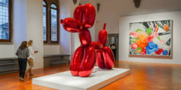 Jeff Koons, Balloon Dog (Red) 1994-2000, mirror-polished stainless steel with transparent colour coating, private collection.